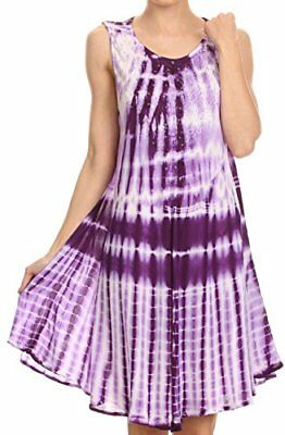Sakkas 16607 Frankie Two Tone Tie Dyed Tank Dress Cover Up With Embroidery Neckl