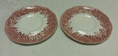 2 VINTAGE Ironstone Saucers - Romantic England Red - J & G Meakin Anne Hathaway
