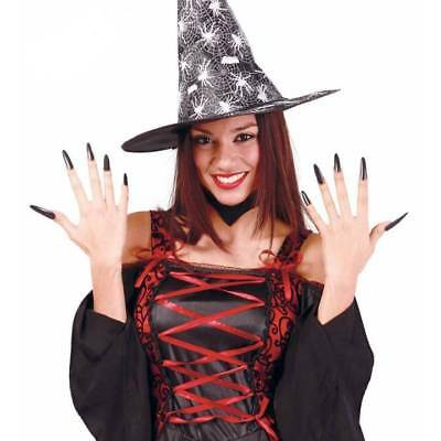10 x Long Black Halloween Witch Artificial NAILS Fancy Dress Accessory