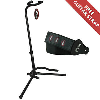 Tiger Universal Guitar Stand in Black and Free Guitar Strap