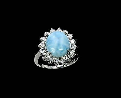 Larimar Beautiful 10X12mm  Natural Solid .925 Sterling Silver Ring Size 9