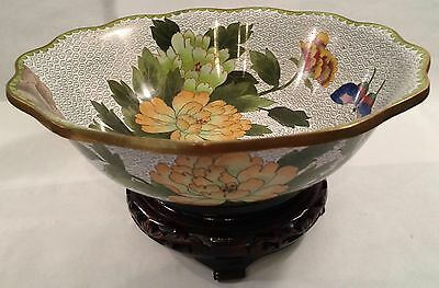 """Lg. 10-1/4"""" Diam Cloisonne Footed Bowl w/ Stand - Peony Pattern"""