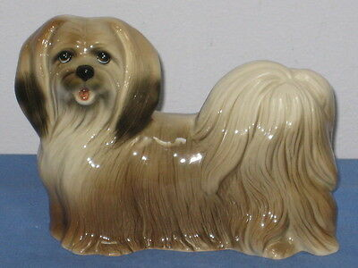 "Vtg ? COOPERCRAFT 7"" Lhasa Apso  DOG FIGURINE W/ Label Made In ENGLAND..MINT"