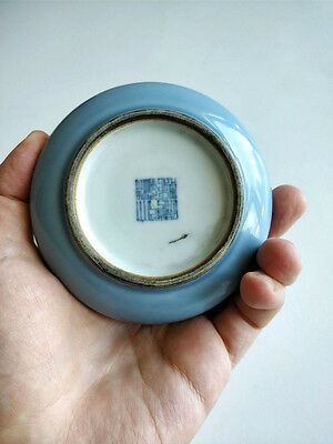 Chinese Blue Glazed Monochrome Porcelain Brush Washer Qianlong Mark