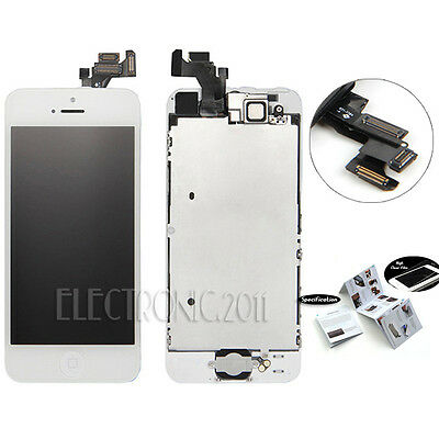 White For iPhone 5 LCD Digitizer Screen+Camera+Home Button Assembly Replacement