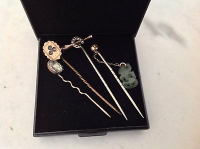 Antique Vintage Gold Plated Stick Pins - Equestrian/Hunting-Paste Stones & Jade