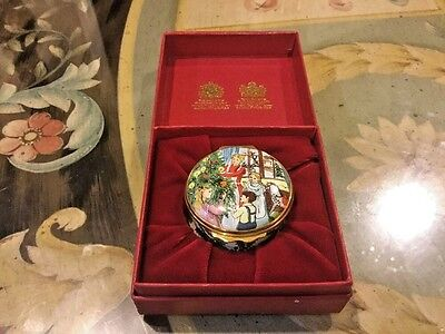 """Halcyon Days Enamel Box """"VICTORIAN CHRISTMAS"""" Family Tree Trimming with Box"""