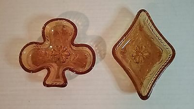 Indiana Glass - Two (2) Vintage Amber Snack (Candy) Dishes - Club and Diamond