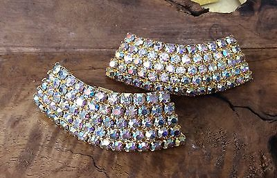 Wow!! MUSI Vintage Signed Goldtone Aurora Borealis Crystal Shoe Clips-So Glitzy!