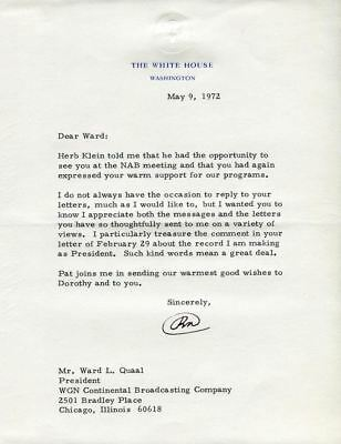 Original Signature Letter President Richard Nixon May 9, 1972