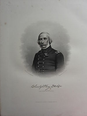 1863 Original American Civil War Print & Biog Commodore C. H. Davis
