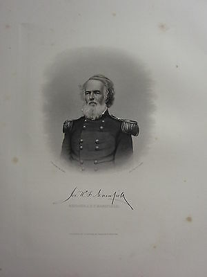 1863 Original American Civil War Print & Biog Major-General Joseph K F Mansfield