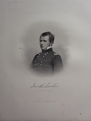 1863 Original American Civil War Print & Biog Major-General Joseph Hooker