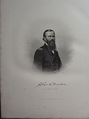 1863 Original American Civil War Print & Biog Commander John L. Worden