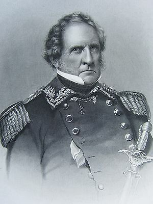 1863 Original American Civil War Print & Biog Lieutenant-General Winfield Scott