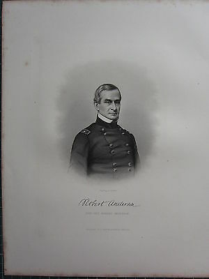 1863 Original American Civil War Print & Biog Brigadier-General Robert Anderson