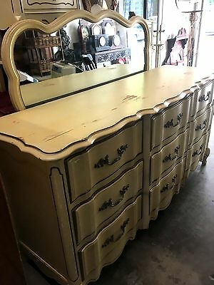 Vintage Long Dresser With Mirror French Provincial 9 Drawer Media center Buffet