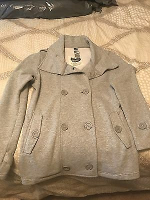 The North Face Women's Double Breasted Button Long Sleeve Jacket Coat Grey SZ M