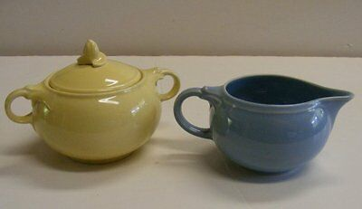 VINTAGE T.S.&T. LuRAY PASTELS CREAMER & SUGAR W/LID TAYLOR SMITH & TAYLOR 1940's