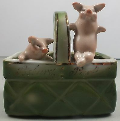 Two Pigs In A Basket Porcelain Figurine Marked Germany ~Souvenir Of Asbury Park
