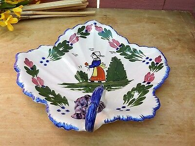 Blue Ridge Pottery Large Maple Leaf Shaped Dish with French Peasant