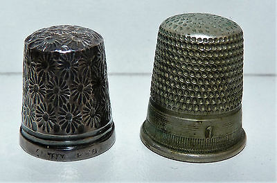 2 x VINTAGE SEWING THIMBLES ONE HALLMARKED SILVER FLORAL DESIGN