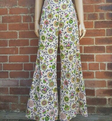 60s/70s Vintage Zip Front Psych Floral Flares  (Flared Trousers)