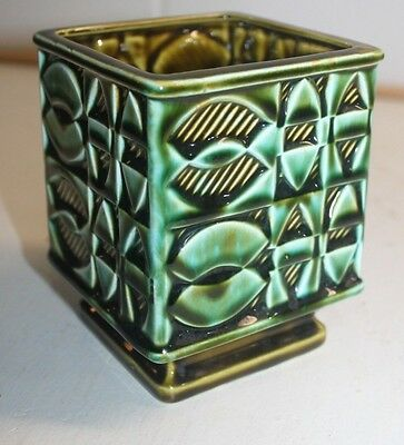 Green Geometric Pedestal Planter Footed Ceramic Plant Pencil Brush Holder P
