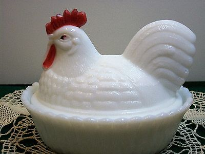 Vintage Westmoreland Chicken Milk Glass Covered 2 Piece Candy/ Butter Dish