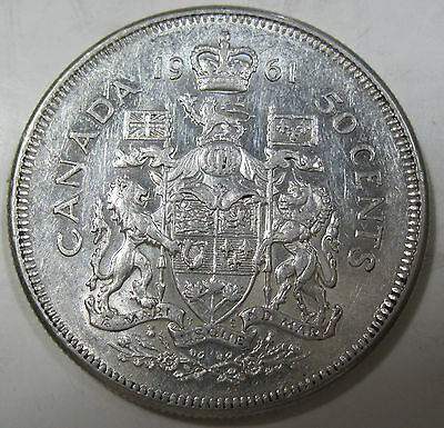 1961 silver Canadian fifty cents half dollar collector coin (#720c)
