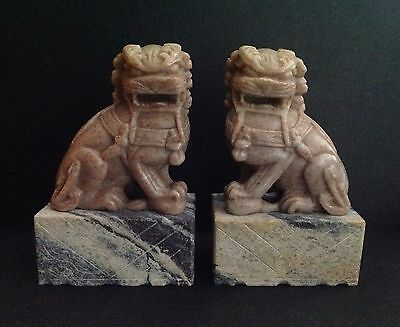 Small Pair Of Vintage Chinese Soapstone Foo Dogs-Nice!!!