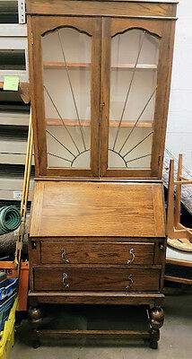 Old Bureau with Leaded Glass fronted Bookcase top