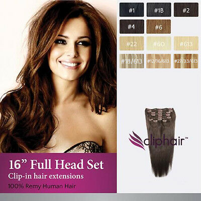 "16"" Full Head Premium Clip in Human Hair Extensions"