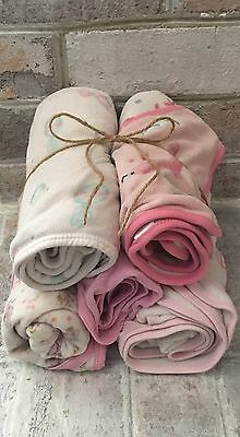 Infant Girls Carters LOT OF 5 Cute Hooded Bath Towels in EUC