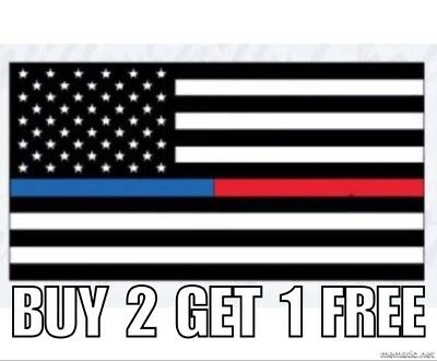 First Responders USA American Thin Blue Red Line Flag Car Decal Sticker 1