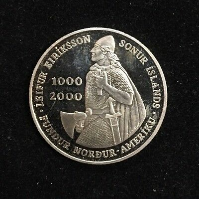 2000 Iceland 1000 Kronur Leif Erickson Proof Silver Commemorative Coin