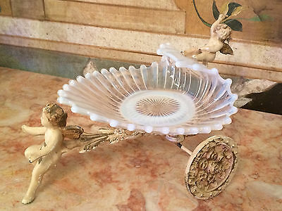 Antique French Victorian Metal Enamel Painted Stand w Cherubs and Opalescent Gla