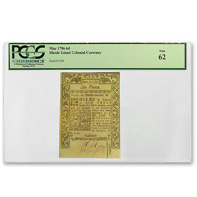 1786 Six Pence Rhode Island Currency May 1786 New-62 PCGS