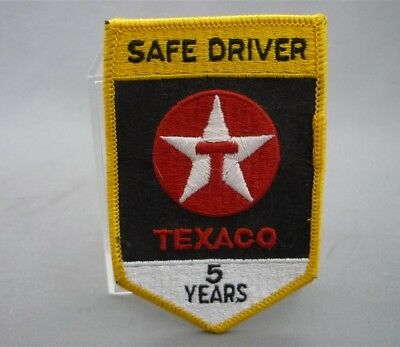 TEXACO Gas Station 5 Year SAFE DRIVER Embroidered Sew on Patch LGE Yellow Badge
