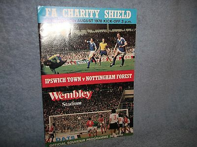Ipswich V Nottingham Forest 1978 Charity Shield Programme