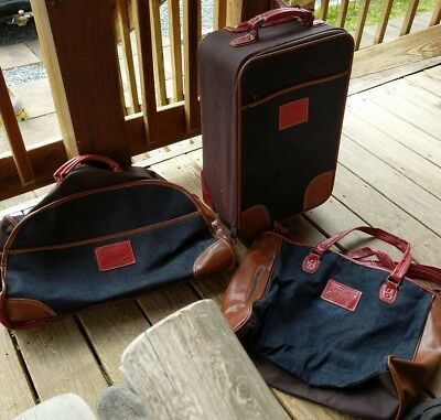 3 Piece Set Vintage Levi Strauss & Co Carry On Tote Luggage Blue Denim Red