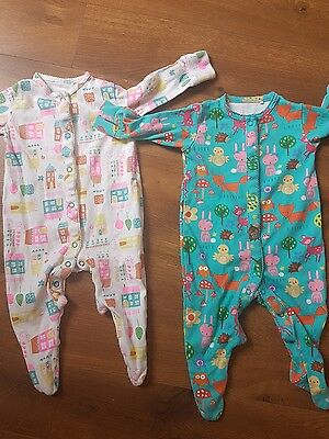 Next Baby Girls Sleepsuit Bundle 3-6 Months bright rare houses amimals 2 items