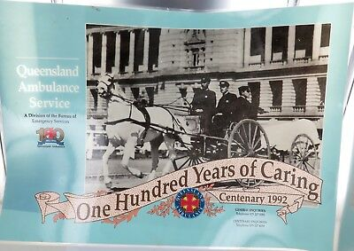 Rare Large 1992 Queensland Qld Ambulance Laminated Poster. 100 Year Anniversary