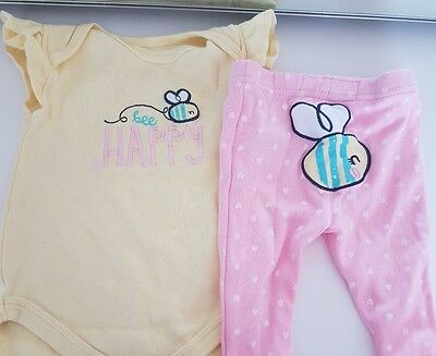 Baby Girl Yellow Pink Bumble Bee Outfit 3-6 months
