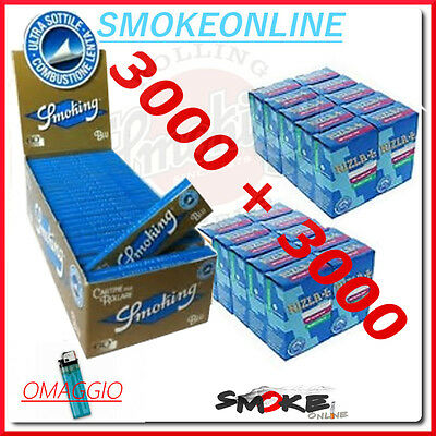 Cartine Smoking Blu Corte 3000 1 box + 3000  Filtri Rizla Slim 6mm  2 box