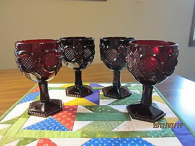"""Avon Cape Cod Ruby Red 6"""" Water Goblets, Set Of 4"""
