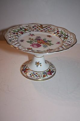 Dresden Schumann Bavaria Porcelain Small Reticulated Compote Floral and Gold