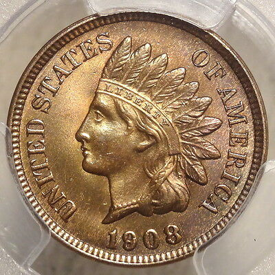 1908 Indian Cent, Choice Uncirculated PCGS MS-64BN, Bright Orange Brown