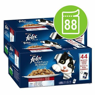 Felix As Good As It Looks Pouches In Jelly Cat Wet Food Mega Pack 88 x 100g