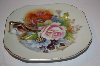 Made in Occupied Japan Porcelain Lemon Serveer with Handle Hand Painted Flowers